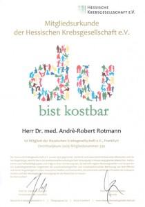 Zertifikat Mitglied Hessische Krebsgesellschaft