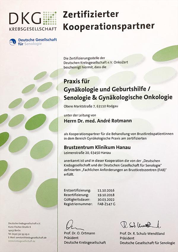 Zertifikat Kooperationspartner Deutsche Brustkrebsgesellschaft e. V.